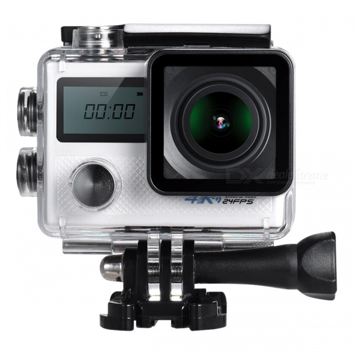 20MP 1080P 4K Wi-Fi Sports Action Camera with Gyroscope - WhiteSport Cameras<br>Form  ColorWhite + BlackShade Of ColorWhiteMaterialABSQuantity1 DX.PCM.Model.AttributeModel.UnitImage SensorOthers,Adopt for Sony IMX078 1/2.3 CMOSImage Sensor SizeOthers,Lens Range: 170°, 140°, 110°, 70° SelectableAnti-ShakeYesFocal Distance8M  5M 2M  1 DX.PCM.Model.AttributeModel.UnitFocusing Range8M  5M 2M  1MOptical Zoom5XDigital Zoom5XWide AngleLens: Wide Angle, F=2.0 f/3mm Lens Range: 170°, 140°, 110°, 70° SelectableEffective PixelsUHD P24(2880 * 2160)(Interpolation), QHD P30(2560 * 1440), FHD P60/30(1920 * 1080), HD P120/60/30(1280 * 720), WVGA P30(848 * 480), VGA P240/30(640 * 480), QVGA P30(320 * 240) Image Size: 20M(5120 * 3840), 16M(4608 * 3456), 12M(4032 * 3024), 10M(3648 * 2736), 8M(3264 * 2448), 5M(2594 * 1944), 3M(2048 * 1536), VGA(640 * 480)ImagesJPEGStill Image Resolution20M(5120 * 3840), 16M(4608 * 3456), 12M(4032 * 3024), 10M(3648 * 2736), 8M(3264 * 2448), 5M(2594 * 1944), 3M(2048 * 1536), VGA(640 * 480)VideoMP4Video ResolutionUHD P24(2880 * 2160)(Interpolation), QHD P30(2560 * 1440), FHD P60/30(1920 * 1080), HD P120/60/30(1280 * 720), WVGA P30(848 * 480), VGA P240/30(640 * 480), QVGA P30(320 * 240)<br>Image Size: 20M(5120 * 3840), 16M(4608 * 3456), 12M(4032 * 3024), 10M(3648 * 2736), 8M(3264 * 2448), 5M(2594 * 1944), 3M(2048 * 1536), VGA(640 * 480)Video Frame RateOthers,4K (2880 * 2160) 24fps (Interpolation) &amp; FHD 1080P 60fps videoCycle RecordYesISOOthers,Auto/100/200/400Exposure CompensationNoScene ModeOFF/Night Scene/Portrait/LightpaintingWhite Balance ModeOthers,Auto/Daylight/Cloudy/Tungsten/FluorescentSupports Card TypeSDSupports Max. Capacity64 DX.PCM.Model.AttributeModel.UnitLCD ScreenYesScreen Size2.0 + 0.98 LCD Screen DX.PCM.Model.AttributeModel.UnitBattery Measured Capacity 950 DX.PCM.Model.AttributeModel.UnitNominal Capacity950 DX.PCM.Model.AttributeModel.UnitBattery included or notYesLow Battery AlertsYesWater ResistantOthers,Waterproof housing can go u