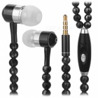 JEDX Pearl Necklace Style In-Ear Earphone with Mic - Black