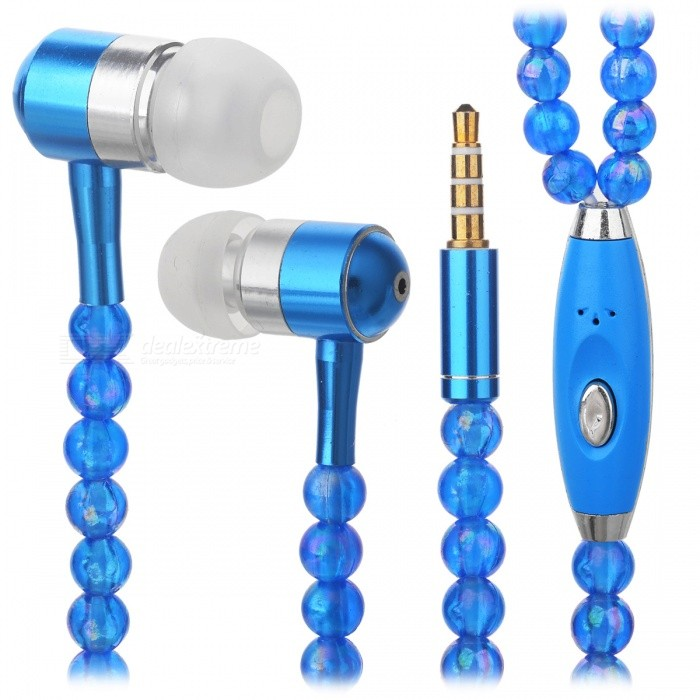 JEDX Pearl Necklace Style In-Ear Earphone with Mic - BlueHeadphones<br>Form  ColorBlueBrandOthers,JEDXMaterialABSQuantity1 DX.PCM.Model.AttributeModel.UnitConnection3.5mm WiredBluetooth VersionNoCable Length120 DX.PCM.Model.AttributeModel.UnitLeft &amp; Right Cables TypeEqual LengthHeadphone StyleIn-EarWaterproof LevelIPX0 (Not Protected)Applicable ProductsUniversalHeadphone FeaturesPhone Control,Long Time Standby,Game Headset,Invisible StyleSupport Memory CardNoSupport Apt-XNoPacking List1 x Earphone<br>