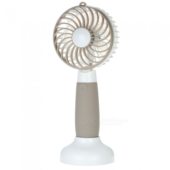 Windmill Shape Portable USB Rechargeable Mini Fan - BrownUSB Fans<br>Form  ColorWhite + BrownQuantity1 pieceShade Of ColorWhiteMaterialABS + PP + Electronic ComponentsInterfaceUSB 2.0Powered ByOthers,18650Fan Blades Qty7Fan Mode3Fan Rotate Angleforward 15° and backward 90°.Packing List1 x Mini Fan1 x USB Cable1 x Base Station1 x User Manual (English)<br>