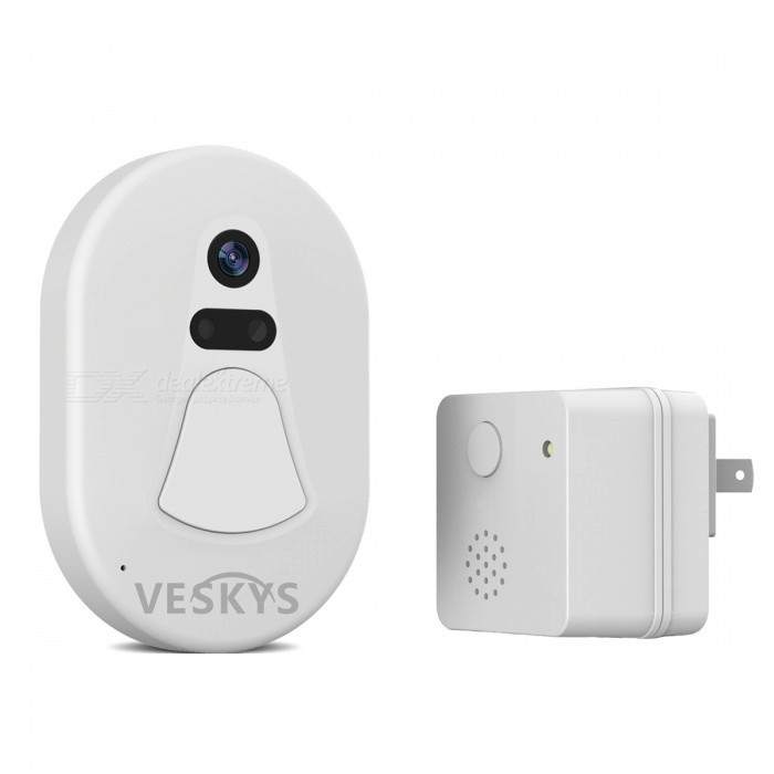 VESKYS Smart Wi-Fi Remote Photograph Doorbell - White (US Plugs)