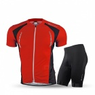 NUCKILY Summer Cycling Short-sleeved Jersey with Shorts - Red (3XL)