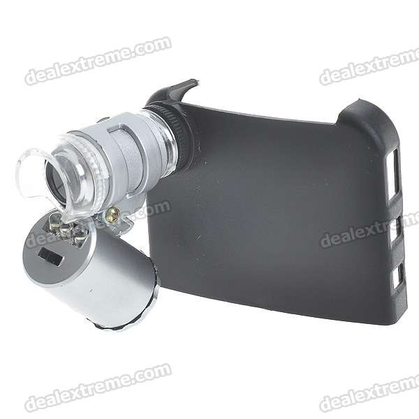Mini 60X Microscope with 2-LED Illumination + Currency Detecting UV Light for Iphone 4 (3*LR1130)