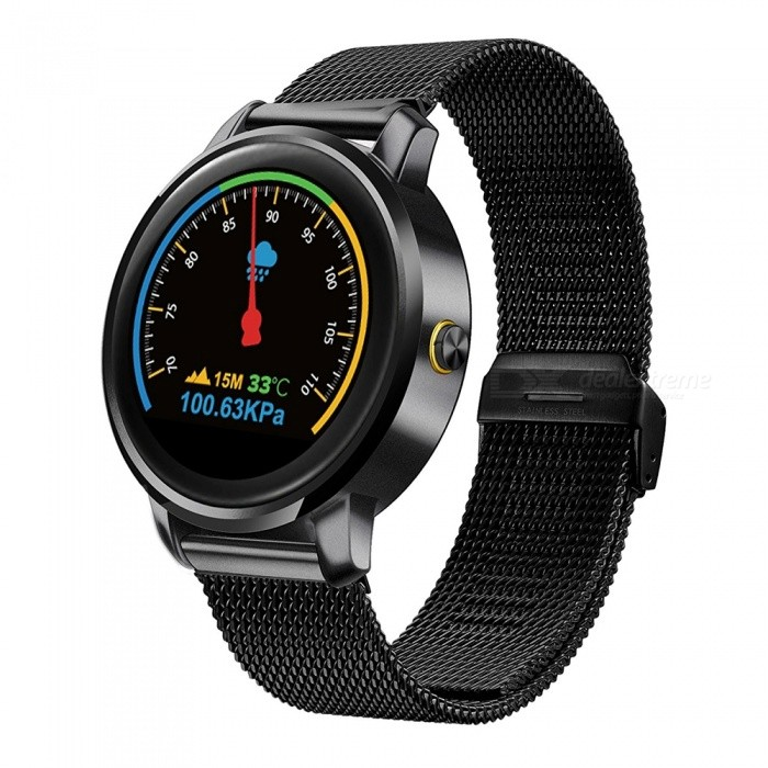 "F1 Bluetooth Smart Watch with 1.22"" Round IPS HD Display - Black"