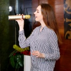 S602 Wireless Microphone Karaoke Player, Bluetooth Speaker - Golden