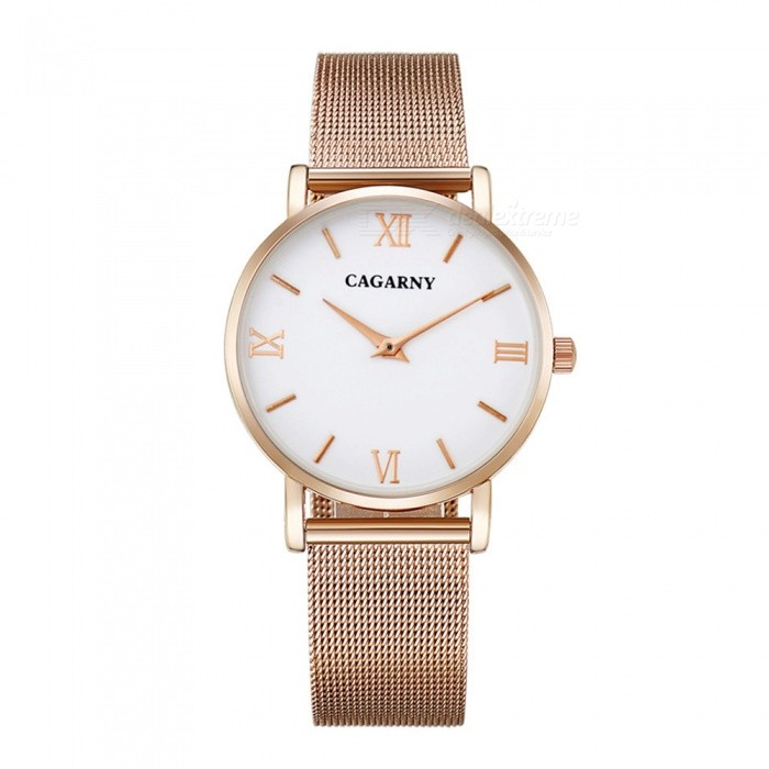 CAGARNY 6812 Fashion Ultra Thin Womens Quartz Watch - Rose GoldQuartz Watches<br>Form  ColorWomens (White + Rose Gold)Model6812Quantity1 DX.PCM.Model.AttributeModel.UnitShade Of ColorWhiteCasing MaterialAlloy + IP platedWristband MaterialStainless steelSuitable forAdultsGenderWomenStyleWrist WatchTypeFashion watchesDisplayAnalogBacklightNoMovementQuartzDisplay Format12 hour formatWater ResistantFor daily wear. Suitable for everyday use. Wearable while water is being splashed but not under any pressure.Dial Diameter3.6 DX.PCM.Model.AttributeModel.UnitDial Thickness0.8 DX.PCM.Model.AttributeModel.UnitWristband Length25.5 DX.PCM.Model.AttributeModel.UnitBand Width1.8 DX.PCM.Model.AttributeModel.UnitBatterysr626sw/1pcPacking List1 x Watch<br>