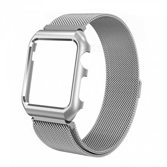 Miimall Mesh Magnetic Band with Case for 38mm Apple Watch - SilverWearable Device Accessories<br>Form  ColorSilverModelApple Watch BandQuantity1 pieceMaterialStainless SteelPacking List1 x Miimall Mesh Stainless Steel Wristband with Metal Protective Case for Apple Watch 38mm<br>
