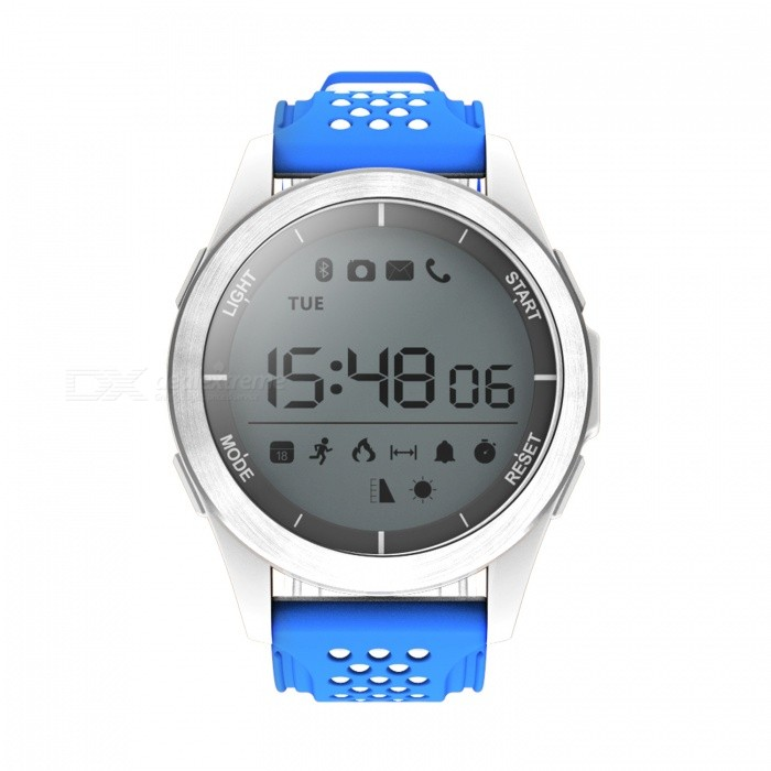 NO.1 F3 IP68 Waterproof Sport Smart Watch Bracelet - White, BlueSmart Bracelets<br>Form  ColorWhite + BlueModelF3Quantity1 DX.PCM.Model.AttributeModel.UnitMaterialCeramic + siliconeShade Of ColorWhiteWater-proofIP68Bluetooth VersionBluetooth V4.0Touch Screen TypeOthers,1.1 inches  Round displayOperating SystemNoCompatible OSAndroid, IOSBattery Capacity240 DX.PCM.Model.AttributeModel.UnitBattery TypeOthers,CR2032 button lithium batteryStandby Time1 DX.PCM.Model.AttributeModel.UnitCertificationCEPacking List1 x F3 Smart Bracelet1 x User Manual (Chinese/English)<br>
