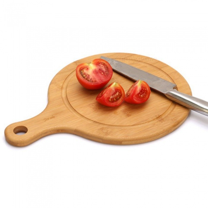 Mini Round Shaped Wood Kitchen Fruit Chopping Cutting Board - Brown