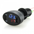 VST Car Voltmeter Thermometer with Dual USB Ports - Black