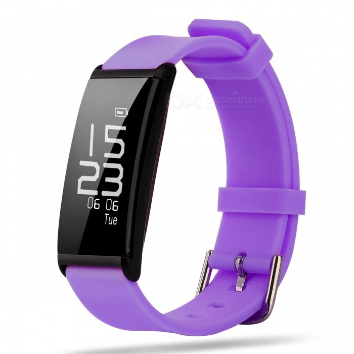 X9 IP67 Waterproof 0.96 Smart Bracelet Watch for Sports - PurpleSmart Bracelets<br>Form  ColorPurpleQuantity1 pieceMaterialSiliconeShade Of ColorPurpleWater-proofIP67Bluetooth VersionBluetooth V4.0Touch Screen TypeYesOperating SystemAndroid 4.3.1,Android 4.4,Android 4.4.1,Android 4.4.2,Android 4.3,iOSCompatible OSAndroid/IOSBattery Capacity60 mAhBattery TypeLi-ion batteryStandby Time15 daysPacking List1 x Smart Bracelet1 x Charging Cable<br>
