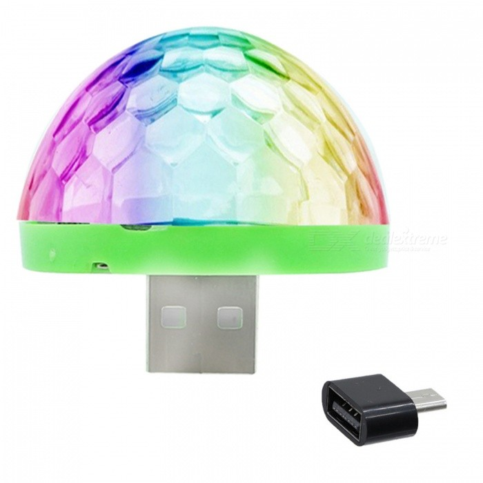 YWXLight Mini USB Crystal Ball Stage Light for Phone - Black (DC 5V)Stage Lights<br>Form  ColorAndroid Port (Black)MaterialPCQuantity1 DX.PCM.Model.AttributeModel.UnitShade Of ColorMulti-colorPattern TypeOthersTotal Power5 DX.PCM.Model.AttributeModel.UnitPower AdapterOthers,USBPacking List1 x YWXLight Mini Stage Light<br>