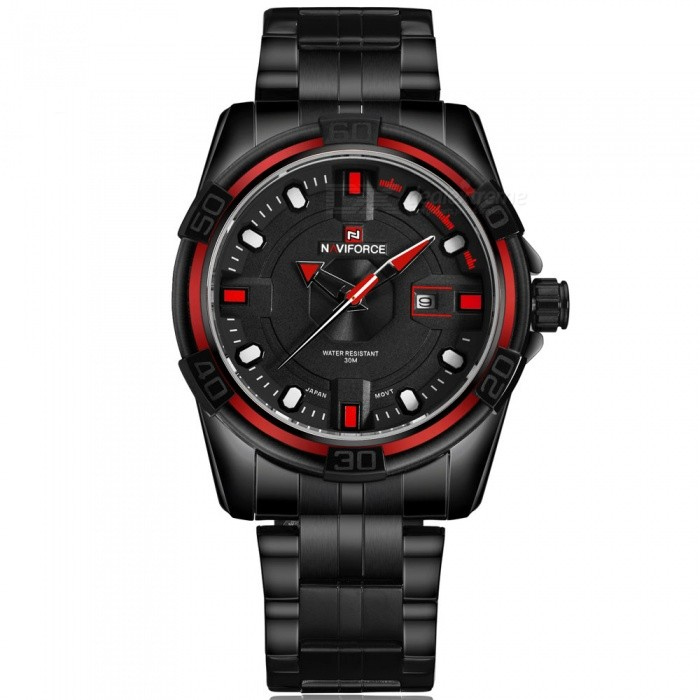 NaviForce 9079 Mens Sports Army Metal Wrist Quartz Watch - RedSport Watches<br>Form  ColorBlack, Red (With Gift Box)ModelNF9079Quantity1 DX.PCM.Model.AttributeModel.UnitShade Of ColorBlackCasing MaterialStainless SteelWristband MaterialStainless SteelSuitable forAdultsGenderMenStyleWrist WatchTypeSports watchesDisplayAnalogMovementQuartzDisplay Format12 hour formatWater ResistantWater Resistant 3 ATM or 30 m. Suitable for everyday use. Splash/rain resistant. Not suitable for showering, bathing, swimming, snorkelling, water related work and fishing.Dial Diameter4.5 DX.PCM.Model.AttributeModel.UnitDial Thickness1.3 DX.PCM.Model.AttributeModel.UnitWristband Length24.5 DX.PCM.Model.AttributeModel.UnitBand Width2.4 DX.PCM.Model.AttributeModel.UnitBattery1 x Button batteryPacking List1 x Watch1 x Gift Box<br>