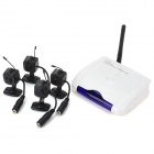 Ultra-Mini 2.4GHz 4-CH Wireless Surveillance Camera w/ Microphone - Black (4-Camera Set)