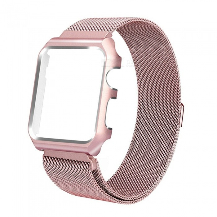 Miimall Mesh Magnetic Band with Case for 42mm Apple Watch - Rose GoldWearable Device Accessories<br>Form  ColorRose GoldModelApple Watch Band and CaseQuantity1 pieceMaterialStainless SteelPacking List1 x Miimall Mesh Stainless Steel Wristband with Metal Protective Case for Apple Watch 42mm<br>