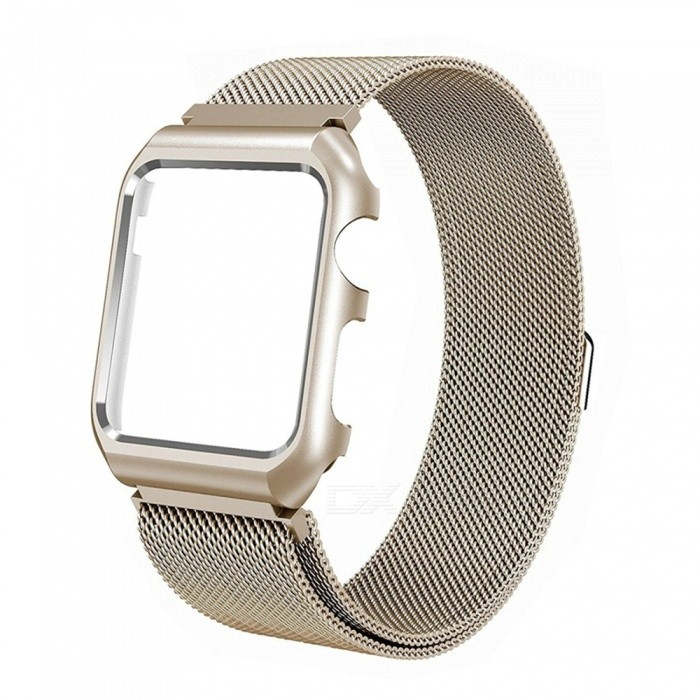 Miimall Mesh Magnetic Band with Case for 42mm Apple Watch - GoldenWearable Device Accessories<br>Form  ColorGoldenModelApple Watch Band and CaseQuantity1 DX.PCM.Model.AttributeModel.UnitMaterialStainless SteelPacking List1 x Miimall Mesh Stainless Steel Wristband with Metal Protective Case for Apple Watch 42mm<br>