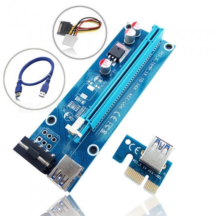 Dayspirit PCI-E USB 3.0 1X to 16X Extension Cable - BlueForm  ColorBlueQuantity1 DX.PCM.Model.AttributeModel.UnitMaterialABSPacking List1 x PCI-E 16X Adapter1 x PCI-E 1X Riser Board1 x USB3.0 Cable (60cm)1 x SATA15Pin-4Pin Power cable<br>