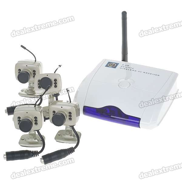 Ultra-Mini 2.4GHz 4-CH Wireless Surveillance Camera w/ Microphone - Golden (4-Camera Set)