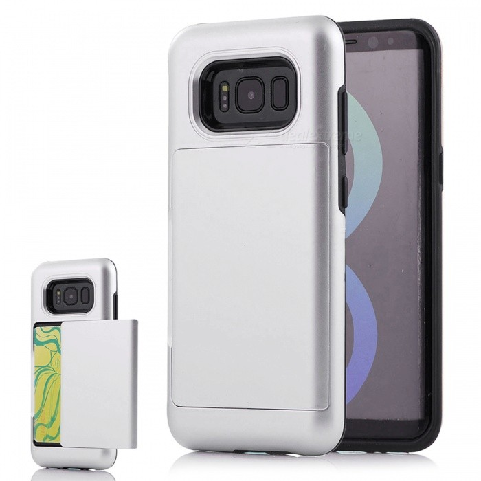 Premium PC TPU Case with Card Slot for Samsung Galaxy S8 - SilverPlastic Cases<br>Form  ColorSilverModelN/AMaterialPC + TPUQuantity1 DX.PCM.Model.AttributeModel.UnitShade Of ColorSilverFeaturesAnti-slip,Dust-proof,Shock-proof,Abrasion resistance,Easy-to-removeCompatible ModelsSamsung Galaxy S8Other FeaturesWith Card SlotPacking List1 x Case<br>