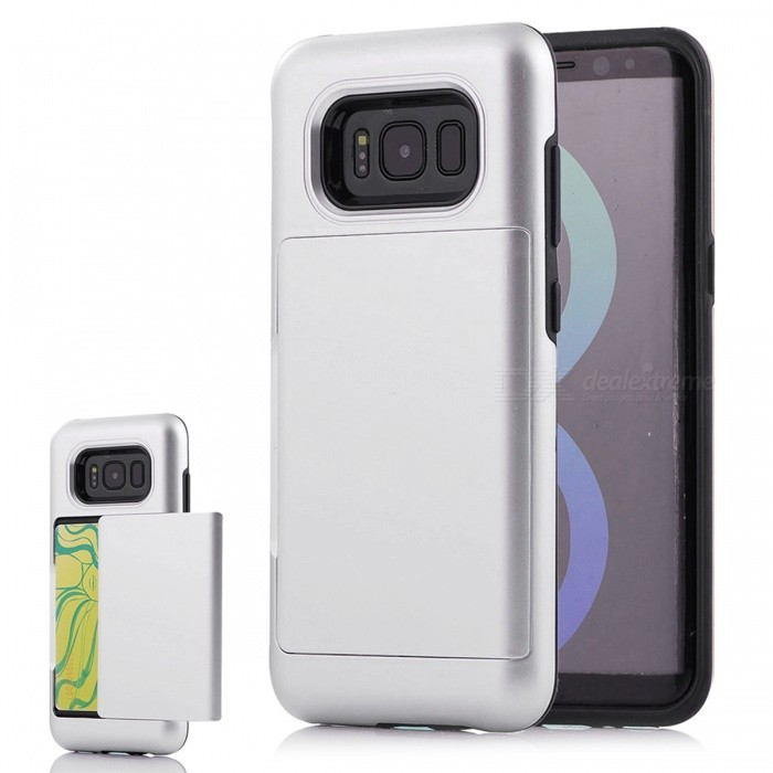 Premium PC TPU Case with Card Slot for Samsung Galaxy S8 Plus - SilverPlastic Cases<br>Form  ColorSilverModelN/AMaterialPC + TPUQuantity1 pieceShade Of ColorSilverFeaturesAnti-slip,Dust-proof,Shock-proof,Abrasion resistance,Easy-to-removeCompatible ModelsSamsung Galaxy S8 Plus / S8 EdgeOther FeaturesWith Card SlotPacking List1 x Case<br>
