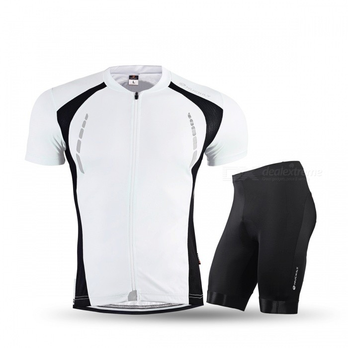 b04ff9372 NUCKILY Summer Cycling Short-sleeved Jersey with Shorts - White (3XL ...