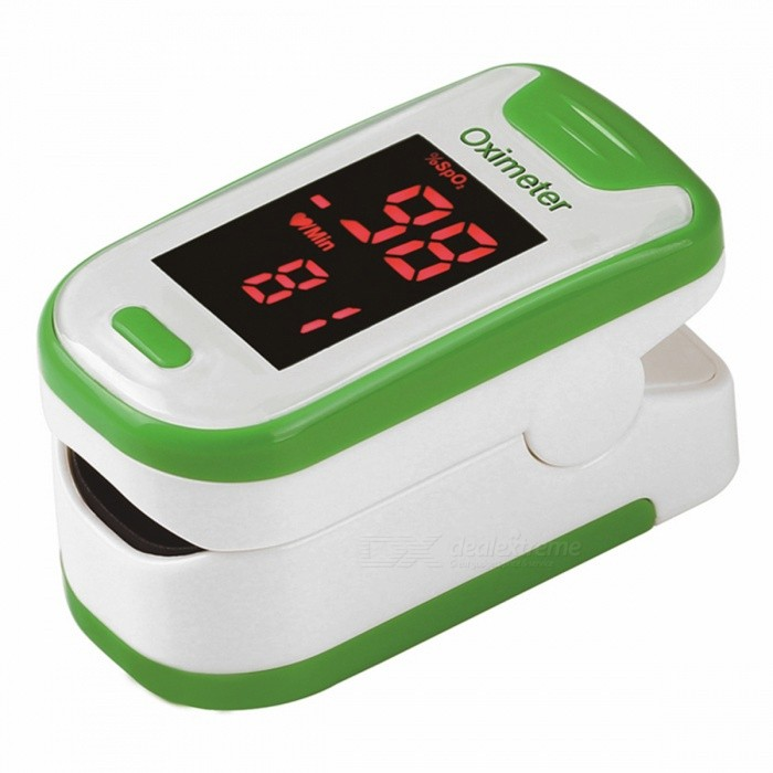 Mini Portable Fingertip Blood Pulse Oximeter - GreenHeart Rate Monitor<br>Form  ColorGreen + WhiteShade Of ColorGreenMaterialABSQuantity1 DX.PCM.Model.AttributeModel.UnitDisplayLEDTarget PositionFingerBattery Number2Power SupplyAAABattery included or notNoPacking List1 x Fingertip Oximeter (without battery)1 x Lanyard1 x English user manual<br>