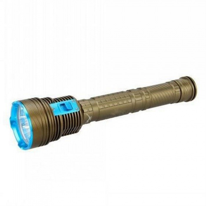 SPO L2 Strong Waterproof Professional Diving Flashlight - BlueDiving Flashlights<br>Form  ColorGreenish golden + blueQuantity1 DX.PCM.Model.AttributeModel.UnitMaterialAluminium alloyEmitter BrandCreeLED TypeXM-L2Emitter BINothers,L2Color BINCold WhiteNumber of Emitters9Theoretical Lumens21000 DX.PCM.Model.AttributeModel.UnitActual Lumens21000 DX.PCM.Model.AttributeModel.UnitPower Supply3 x 18650 or 3 x 26650Working Voltage   8.4 DX.PCM.Model.AttributeModel.UnitCurrent1 DX.PCM.Model.AttributeModel.UnitRuntime4.6 DX.PCM.Model.AttributeModel.UnitNumber of Modes3Mode ArrangementHi,Low,Slow StrobeMode MemoryNoSwitch TypeForward clickySwitch LocationHead TwistyLens MaterialToughened glassReflectorAluminum SmoothWorking Depth Underwater100 DX.PCM.Model.AttributeModel.UnitStrap/ClipStrap includedPacking List1 x Diving torch1 x Flashlight Lanyard<br>
