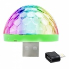 Portable Mobile Phone USB LED Color-Changing Crystal Ball Lamp with Sound Control for IPHONE