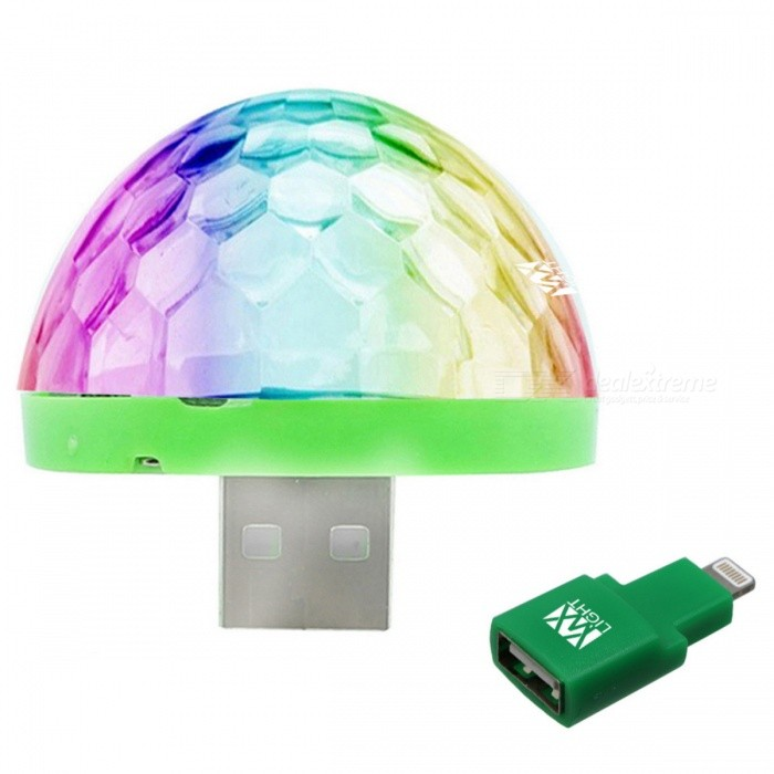 YWXLight Mini USB Crystal Ball Stage Light for Phone - White (DC 5V)Stage Lights<br>Form  ColorIPHONE Interface (White)MaterialPCQuantity1 DX.PCM.Model.AttributeModel.UnitShade Of ColorMulti-colorPattern TypeOthersPower AdapterOthers,USBPacking List1 x YWXLight Mini Stage Light<br>
