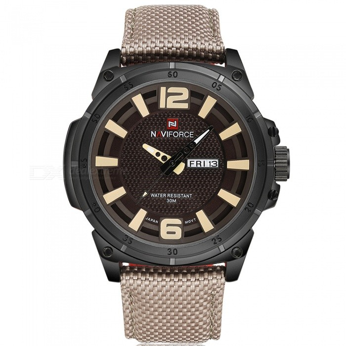 NaviForce 9066 Mens Sports Military Wrist Quartz Watch - BrownSport Watches<br>Form  ColorBrown (Without Gift Box)ModelNF9066Quantity1 DX.PCM.Model.AttributeModel.UnitShade Of ColorBrownCasing MaterialStainless SteelWristband MaterialNylonSuitable forAdultsGenderMenStyleWrist WatchTypeSports watchesDisplayAnalogMovementQuartzDisplay Format12 hour formatWater ResistantWater Resistant 3 ATM or 30 m. Suitable for everyday use. Splash/rain resistant. Not suitable for showering, bathing, swimming, snorkelling, water related work and fishing.Dial Diameter4.7 DX.PCM.Model.AttributeModel.UnitDial Thickness1.3 DX.PCM.Model.AttributeModel.UnitWristband Length24 DX.PCM.Model.AttributeModel.UnitBand Width2.4 DX.PCM.Model.AttributeModel.UnitBattery1 x Button batteryPacking List1 x Watch<br>