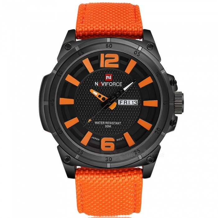 NaviForce 9066 Mens Sports Army Military Wrist Quartz Watch - OrangeSport Watches<br>Form  ColorOrange (Without Gift Box)ModelNF9066Quantity1 DX.PCM.Model.AttributeModel.UnitShade Of ColorOrangeCasing MaterialStainless SteelWristband MaterialNylonSuitable forAdultsGenderMenStyleWrist WatchTypeSports watchesDisplayAnalogMovementQuartzDisplay Format12 hour formatWater ResistantWater Resistant 3 ATM or 30 m. Suitable for everyday use. Splash/rain resistant. Not suitable for showering, bathing, swimming, snorkelling, water related work and fishing.Dial Diameter4.7 DX.PCM.Model.AttributeModel.UnitDial Thickness1.3 DX.PCM.Model.AttributeModel.UnitWristband Length24 DX.PCM.Model.AttributeModel.UnitBand Width2.4 DX.PCM.Model.AttributeModel.UnitBattery1 x Button batteryPacking List1 x Watch<br>