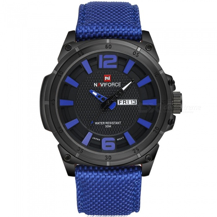 NaviForce 9066 Mens Sports Army Military Wrist Quartz Watch - BlueSport Watches<br>Form  ColorBlue (With Gift Box)ModelNF9066Quantity1 pieceShade Of ColorBlueCasing MaterialStainless SteelWristband MaterialNylonSuitable forAdultsGenderMenStyleWrist WatchTypeSports watchesDisplayAnalogMovementQuartzDisplay Format12 hour formatWater ResistantWater Resistant 3 ATM or 30 m. Suitable for everyday use. Splash/rain resistant. Not suitable for showering, bathing, swimming, snorkelling, water related work and fishing.Dial Diameter4.7 cmDial Thickness1.3 cmWristband Length24 cmBand Width2.4 cmBattery1 x Button batteryPacking List1 x Watch1 x Gift Box<br>