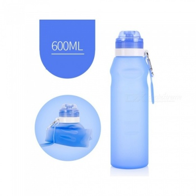 NUCKILY Outdoor Portable Folding 600ML Silicone Water Bottle - Blue