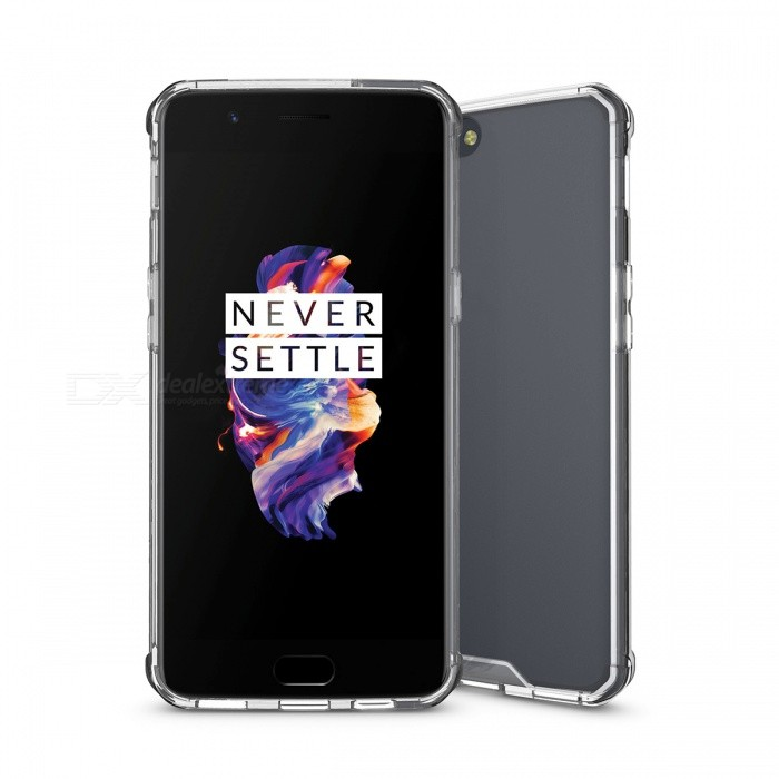 Shock-proof Protection Back Case for Oneplus 5 - Translucent WhitePlastic Cases<br>Form  ColorTranslucent WhiteModelN/AMaterialTPU + acrylicQuantity1 pieceShade Of ColorWhiteCompatible ModelsOneplus 5FeaturesShock-proofPacking List1 x Case<br>