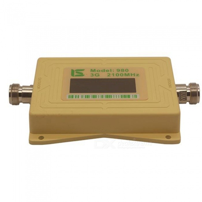 3G 2100MHz Dual Band Mobile Phone Signal Repeater (US Plugs)Signal Booster<br>Form  ColorGolden (US Plugs)Quantity1 setMaterialAluminium alloyNetwork Type2G,3GNetwork DetailsWCDMAFrequency RangeUplink: 1920~1990MHz; Downlink:, 2110~2180MHzShade Of ColorGoldApplicationIndoor,OutdoorFrequency Range Uplink1920~1990MHzFrequency Range Down Link2110~2180MHzMax. Coverage Square Meters500~2000 square meterGain (dBi)65dBiOutput Power1 WNoise Figure (Db)4dBElectromagnetic CompatibilityETS300 609-5I/O Impedance50Power AdapterUS PlugPacking List1 x Signal booster1 x Indoor antenna1 x 10m outdoor suction cup antenna1 x Power adapter 1 x English user manual<br>