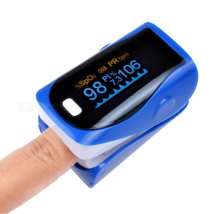 Mini Portable Fingertip Blood Pulse Oximeter - BlueHeart Rate Monitor<br>Form  ColorBlue + BlackShade Of ColorBlueMaterialABSQuantity1 DX.PCM.Model.AttributeModel.UnitDisplayOLEDBattery Number2Power SupplyAAABattery included or notNoPacking List1 x Fingertip Oximeter (without battery)1 x Lanyard1 x English user manual<br>