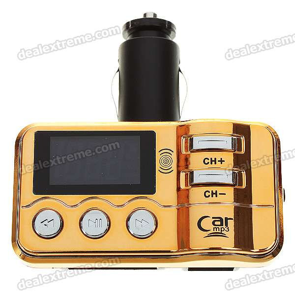 "1.1"" LCD Car MP3 Player FM Transmitter with IR Remote Controller - Black + Golden (SD/MMC/USB)"