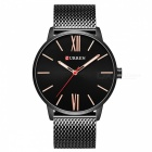 CURREN 8238 Ultra Thin Men Quartz Watch med Mesh Strap - Svart