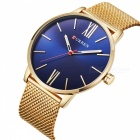 CURREN 8238 Ultra Thin Men's Quartz Watch with Mesh Strap - Golden