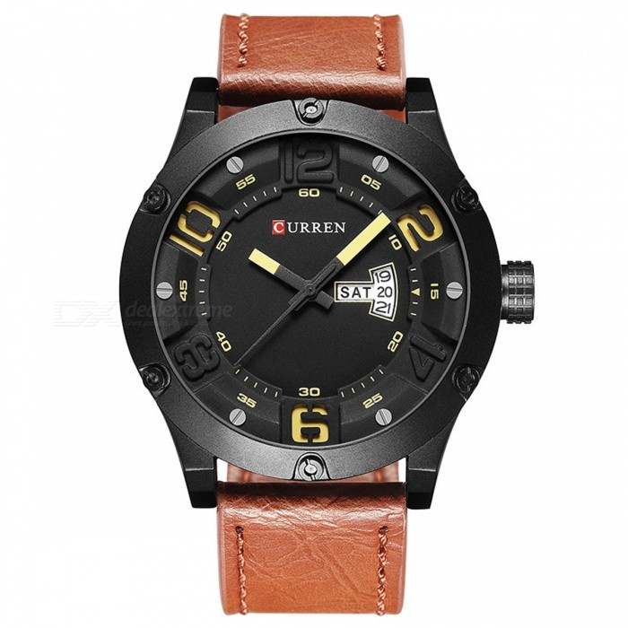 CURREN 8251 Mäns Casual Quartz Watch med Läder Rem - Brun