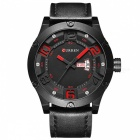 CURREN 8251 Men's Causal Quartz Watch with Leather Strap - Black