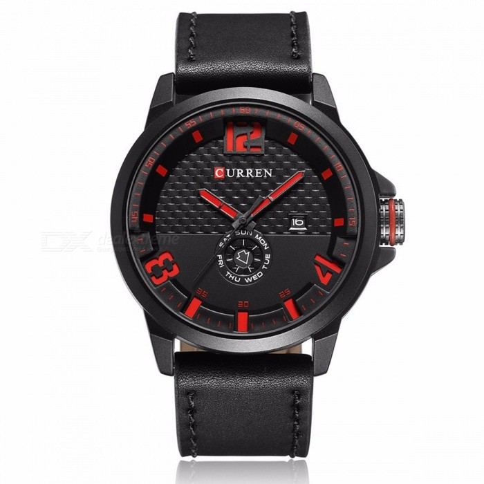 CURREN 8253 Mens Causal Quartz Watch with Leather Strap - BlackQuartz Watches<br>Form  ColorBlack + RedModel8253Quantity1 DX.PCM.Model.AttributeModel.UnitShade Of ColorBlackCasing MaterialAlloyWristband MaterialPU LeatherSuitable forAdultsGenderMenStyleWrist WatchTypeCasual watchesDisplayAnalogBacklightNoMovementQuartzDisplay Format12 hour formatWater ResistantFor daily wear. Suitable for everyday use. Wearable while water is being splashed but not under any pressure.Dial Diameter5 DX.PCM.Model.AttributeModel.UnitDial Thickness1 DX.PCM.Model.AttributeModel.UnitWristband Length25 DX.PCM.Model.AttributeModel.UnitBand Width2.3 DX.PCM.Model.AttributeModel.UnitBattery626Packing List1 x Watch1 x Gift Box<br>