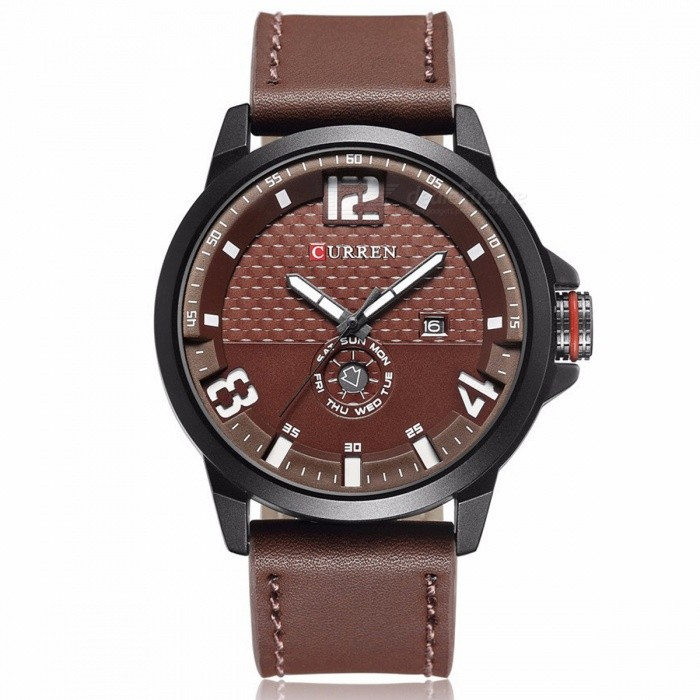 CURREN 8253 Mens Causal Quartz Watch with Leather Strap - BrownQuartz Watches<br>Form  ColorKhaki + BrownModel8253Quantity1 pieceShade Of ColorBrownCasing MaterialAlloyWristband MaterialPU LeatherSuitable forAdultsGenderMenStyleWrist WatchTypeCasual watchesDisplayAnalogBacklightNoMovementQuartzDisplay Format12 hour formatWater ResistantFor daily wear. Suitable for everyday use. Wearable while water is being splashed but not under any pressure.Dial Diameter5 cmDial Thickness1 cmWristband Length25 cmBand Width2.3 cmBattery626Packing List1 x Watch1 x Gift Box<br>