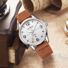CURREN 8265 Men's Causal Quartz Watch with Leather Strap - Brown