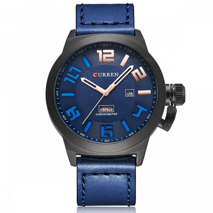 CURREN 8270 Men's Causal Quartz Watch with Leather Strap - Blue