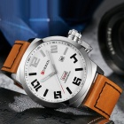 CURREN 8270 Men's Causal Quartz Watch with Leather Strap - Silver