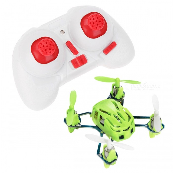 Hubsan NANO Q4 H111 4-CH Mini Remote Control R/C Quadcopter - GreenR/C Airplanes&amp;Quadcopters<br>Form  ColorGrass GreenModelH111MaterialPlasticQuantity1 DX.PCM.Model.AttributeModel.UnitShade Of ColorGreenGyroscopeYesChannels Quanlity4 DX.PCM.Model.AttributeModel.UnitFunctionUp,Down,Left,Right,Forward,Backward,Stop,Sideward flightRemote TypeRadio ControlRemote control frequency2.4GHzRemote Control Range50 DX.PCM.Model.AttributeModel.UnitSuitable Age 8-11 years,12-15 years,Grown upsCameraNoCamera PixelNoLamp YesBattery TypeLi-polymer batteryBattery Capacity100 DX.PCM.Model.AttributeModel.UnitCharging Time25 DX.PCM.Model.AttributeModel.UnitWorking Time4~5 DX.PCM.Model.AttributeModel.UnitRemote Controller Battery TypeAAARemote Controller Battery Number2Remote Control TypeWirelessModelMode 2 (Left Throttle Hand)Packing List1 x H111 green aircraft1 x H111-07 remote control1 x H111-06 USB charging cable (60mm)1 x H111-05 main propeller (4pcs / package)1 x Instruction (English)<br>