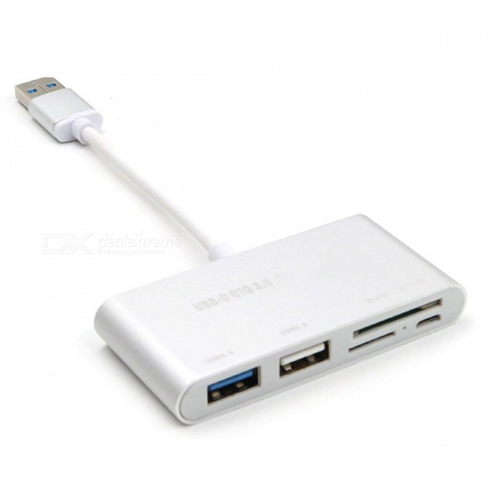 Micro USB 3.0 OTG HUB avec carte SD TF Card Adapter - Argent