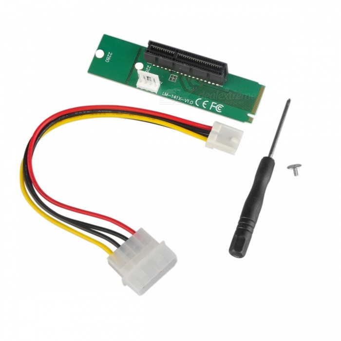 Dayspirit M.2 to PCIE Extension Card, NGFF to PCI-E X4 Adapter CardForm  ColorGreen + MulticoloredQuantity1 DX.PCM.Model.AttributeModel.UnitMaterialPCBAPacking List1 x Power line (big 4Pin to small 4Pin floppy drive interface)1 x M2 transfer to PCI-E transfer card1 x Screwdriver1 x Screw<br>