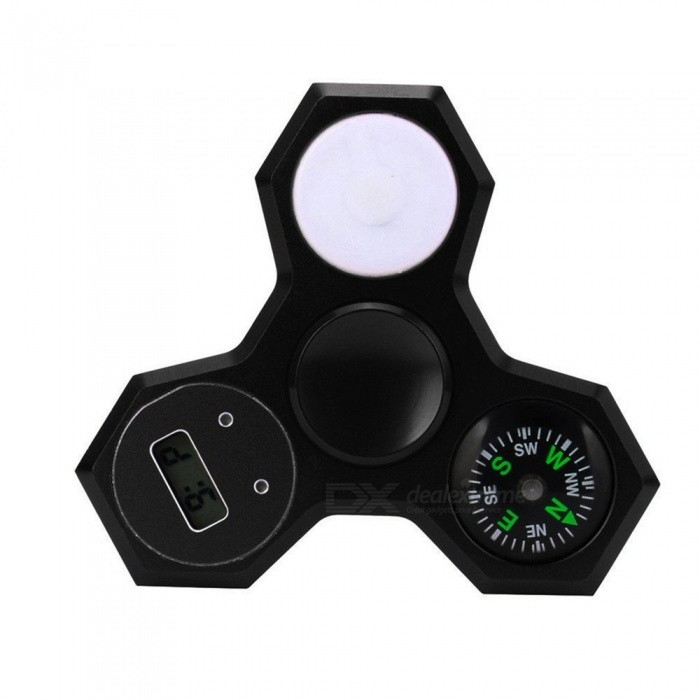OJADE 3-in-1 Fingertip Gyro Toy with Compass, Light, Time - Black
